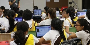 Pupils using laptops